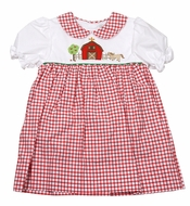 Petit Ami Baby / Toddler Girls Red Check Dress - Barn & Farm