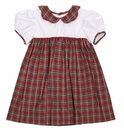 Petit Ami Baby / Toddler Girls Red Holiday Plaid Dress - Scallop Collar