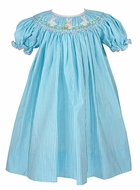 Petit Ami Baby / Toddler Girls Turquoise Check Smocked Easter Bunny Bishop Dress