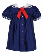 Petit Ami Classic Baby / Toddler Girls Sailor Suit Dress - Navy Blue