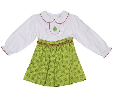 Petit Ami Girls Green Swirl Skirt with Christmas Tree Blouse