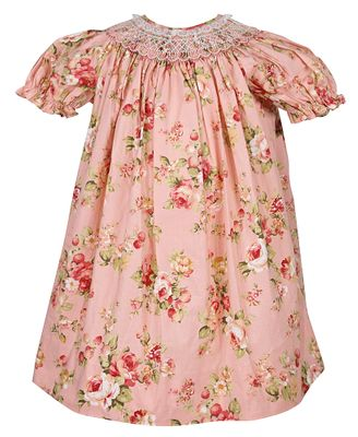Petit Ami Girls Peach Spring Floral Smocked Bishop Dress