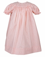 Petit Ami Girls Sweet Peach Geometric Smocked Bishop Dress