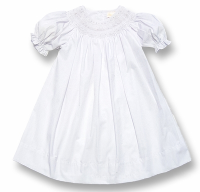 Petit Ami Gold Girls White Portrait Dress - Smocked with Pearls