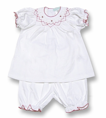 Petit Ami Infant Baby Girls Soft White Dress Smocked in Red with Pantaloons