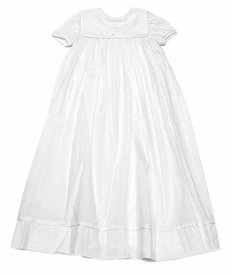 Petit Ami Infant Baby Girls Sweet White Christening Gown with Square Collar and Embroidered Cross