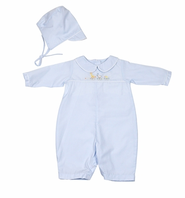 Petit Ami Infant Boys Blue Romper with Hat - Embroidered Animal Train