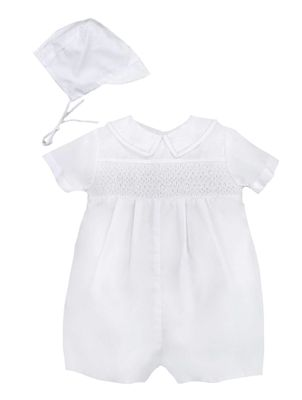 Petit Ami Infant Boys Dressy White Smocked Outfit  - Suitable for Christening