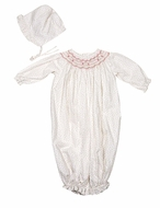 Petit Ami Infant Girls Pink Floral Smocked Converter Gown with Bonnet - Converts to Romper