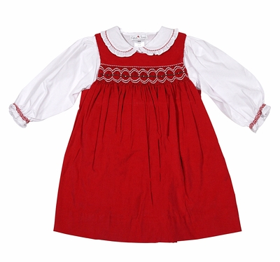 Petit Ami Infant Girls Red Corduroy Smocked Christmas Jumper Dress with Ruffle Blouse