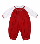 Petit Ami Infant Girls Red Corduroy Smocked Christmas Romper with Blouse
