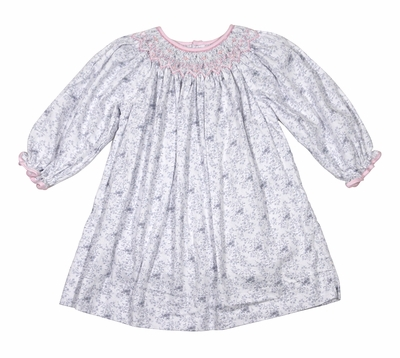 Petit Ami Infant / Toddler Girls Gray Floral Dress - Long Sleeves - Smocked in Pink