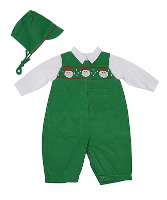 Petit Ami Newborn Baby Boys Green Corduroy Smocked Santa Longall with Hat
