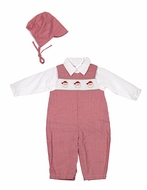 Petit Ami Newborn Baby Boys Red Gingham Smocked Santa Longall with Hat