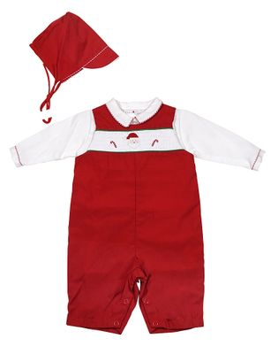 Petit Ami Newborn Baby Boys Red Smocked Santa Longall Set with Hat