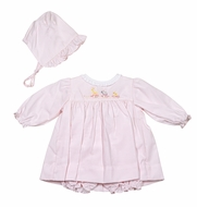 Petit Ami Newborn Baby Girls Pink Animal Train Dress with Bonnet & Bloomers