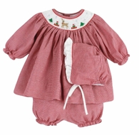 Petit Ami Newborn Baby Girls Red Check Smocked Reindeer Dress with Bloomers & Bonnet