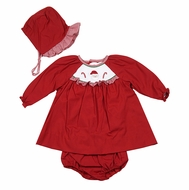 Petit Ami Newborn Baby Girls Red Smocked Santa Dress with Bonnet & Bloomers