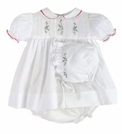 Petit Ami Newborn Baby Girls White Dress - Embroidered Christmas Holly - Bloomers & Bonnet Too!