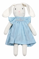 Petit Ami Stuffed White Easter Bunny Doll in French Blue Smocked Easter Dress