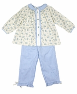 Petit Ami Toddler Girls Blue Check Pants with Floral Ruffle Top