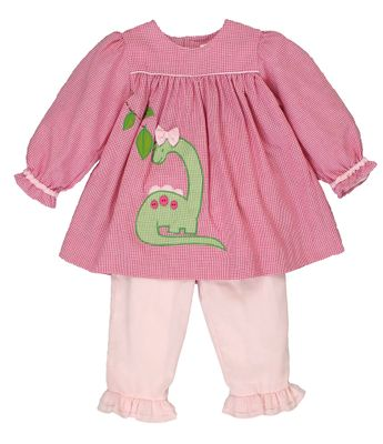 Petit Ami Toddler Girls Pink Check / Green Dinosaur Top with Pants