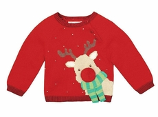 Petit Ami Zubels Baby / Todder Boys Red Rudolph Reindeer Sweater