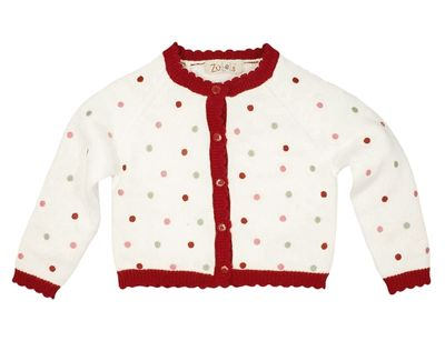 Petit Ami Zubels Baby / Todder Girls White / Colorful Lollipop Dots Cardigan Sweater