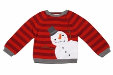 Petit Ami Zubels Baby / Toddler Boys Red Stripe Holiday Snowman Sweater