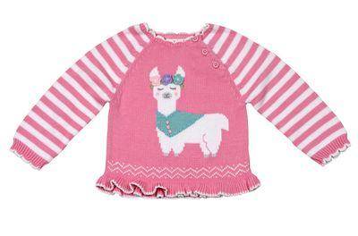 Petit Ami Zubels Baby / Toddler Girls Pink Llama Sweater
