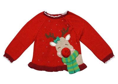 Petit Ami Zubels Baby / Toddler Girls Red Christmas Reindeer Sweater