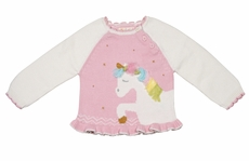 Petit Ami Zubels Girls Pink Unicorn Sweater