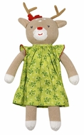 Petit Ami Zubels Girls Stuffed Reindeer in Green Christmas Dress Doll Toy