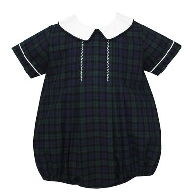 Petit Bebe Baby Boys Blackwatch Plaid Bubble - White Collar