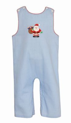 Petit Bebe Baby Boys Blue Check Applique Santa Claus Longall