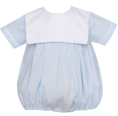 Petit Bebe Baby Boys Blue Check Bubble - Square Collar