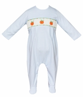 Petit Bebe Baby Boys Blue Check Knit Smocked Pumpkins Footie - Boy