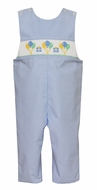 Petit Bebe Baby Boys Blue Check Smocked Birthday Party Longall