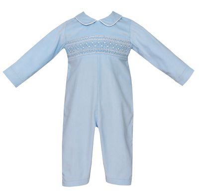 Petit Bebe Baby Boys Blue Corduroy Smocked Romper with Collar