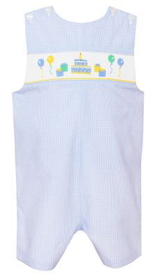 Petit Bebe Baby Boys Blue Micro Check Smocked Happy Birthday Jon Jon