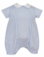 Petit Bebe Baby Boys Blue Mini Check Bubble with Collar