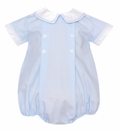 Petit Bebe Baby Boys Blue Poplin Bubble with Collar