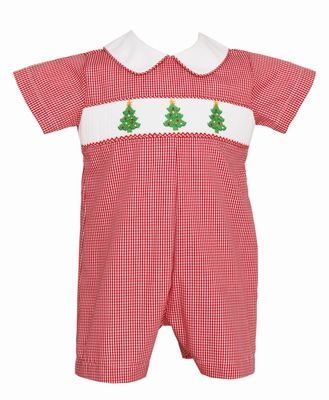 Petit Bebe Baby Boys Red Check Smocked Christmas Trees Short Romper