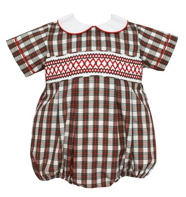 Petit Bebe Baby Boys Red / Green Holiday Plaid Smocked Bubble