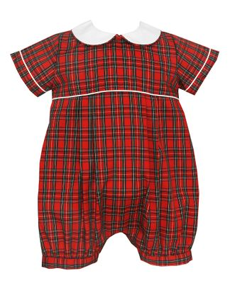 Petit Bebe Baby Boys Red Holiday Plaid Christmas Bubble