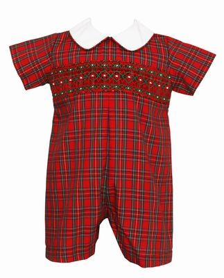 Petit Bebe Baby Boys Red Holiday Plaid Smocked Short Romper
