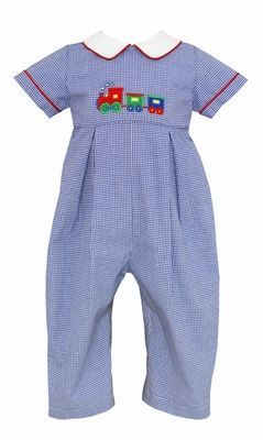 Petit Bebe Baby Boys Royal Blue Check Applique Christmas Train Romper with Collar