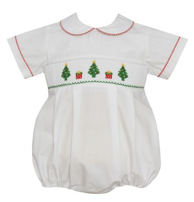 Petit Bebe Baby Boys White Poplin Smocked Christmas Trees Bubble