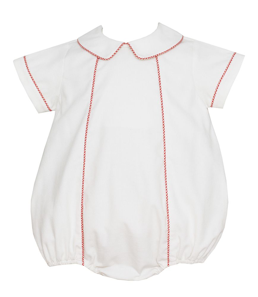 b13512624a4 Petit Bebe Baby Boys Winter White Corduroy Bubble with Red Trim