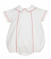 Petit Bebe Baby Boys Winter White Corduroy Bubble with Red Trim